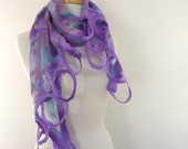 Blue Cotton Scarf. Funky Fashion Scarves. Mothers Day Gift  Purple and blue