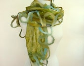Hand Painted Silk Scarf Green Nuno Felted Silk and Wool Olive Fashion Scarves Australia