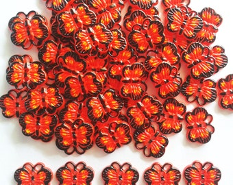 30 pcs Cute Red Butterfly Button 2 holes