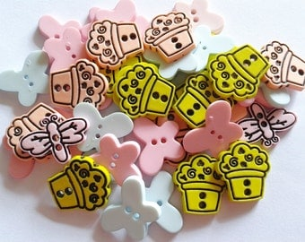 30 pcs Mix insect and Flower Tree Pot button 2hole