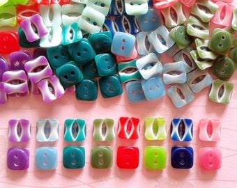 50 pcs Cute candy square button size 12 mm