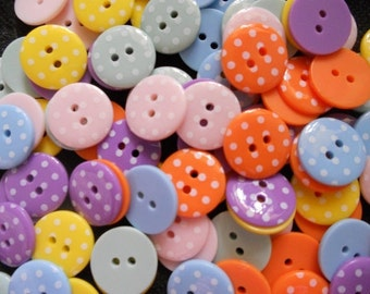 26 pcs Cute Retro Polka dot Buttons 18 mm mix color