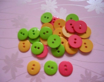 50pcs Plain Buttons 15mm Mix Color