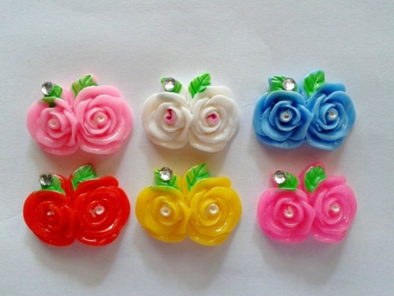 20 pcs Cute double rose with rhinstone cabochon Flatback mix color