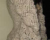 Very Feminine Hooded Scarf PDF Knitting Pattern - designer, elegant, extravagant, dramatic