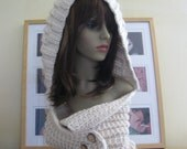 Hand Knit in France - Super Soft & Chunky Hooded Scarflette - Merino, Alpaca and Silk