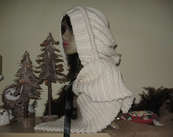 """Slouchy Chunky Hooded Style Hat (hoodie) Knitting Pattern """"Big Loft in The City"""" colonial amish - PDF file"""