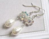 Rhinestone flower pearl drop bridal earrings