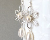Daisy bridal earrings pearl drop