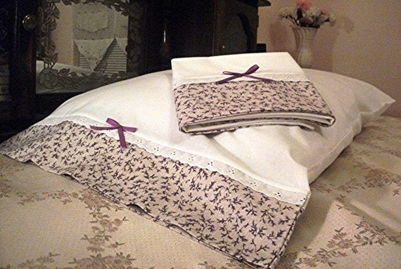 Pair of Cotton Spring PILLOWCASES, Quality Handmade, fits Reg/Queen Size bed pillows, Lavendar Flowers, Eyelet Trim,READY to SHIP