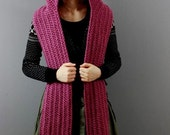Hooded Scarf In Dusky Pink Handmade/Knit Hooded Scarf