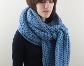 Chunky Scarf Mens Scarf Chunky Long Scarf Fall Winter Scarf  Denim Blue Monday