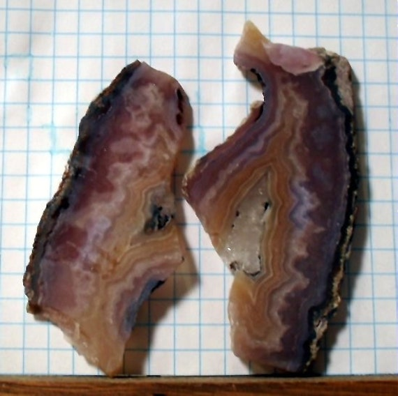 Aztec Lace agate slab pair