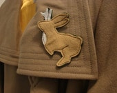 Felt Jackalope Rabbit Brooch Pin - Even Barrette