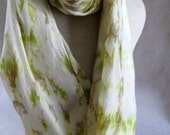 Shibori Habotai Silk Scarf (Cream, Tobacco, Brown,Green )Large