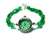 Rich Emerald Green Jade Bracelet Watch with Sterling