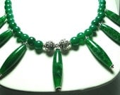 Green Jade Cleopatra Spindle Gemstone Collar Necklace with Sterling