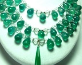 Spectacular Designer Emerald Green Onyx 3-Strand Statement Bib Necklace with Sterling