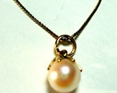 """Pearl Pendant Akoya Saltwater 5mm Pearl Solitaire Pendant Set in 14K Gold on 14k GF 16"""" chain"""