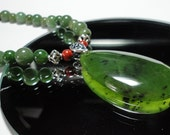 Rich Green Genuine Nephrite Jade Necklace and Polished Jade Pendant with Sterling