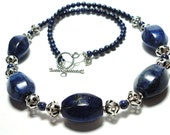 Luscious Lantern Shaped AA Quality Lapis Necklace with Sterling