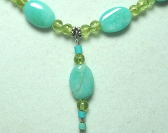 Amazonite Necklace AAA Peruvian Amazonite and Peridot Gemstone Bead Necklace with Sterling