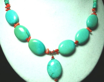Turquoise Necklace with Red Coral and Sterling