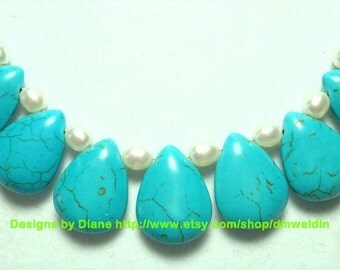 Turquoise Howlite Necklace with Pearls and Sterling