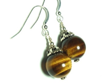 Golden Brown Tigereye Ball Earrings in Sterling