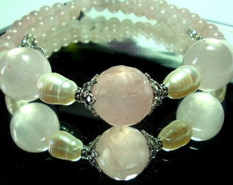 Rose Quartz Necklace Rose aQuartz and Pearls Necklace with Sterling