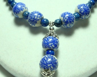 Delft Blue Porcelain Necklace Chinese Blue Chrysanthemum Necklace Porcelain Bead and Lapis Necklace with Sterling