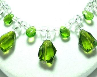 Peridot Necklace Spring Green Peridot Quartz Necklace Faceted Freeform Green Quartz Drops w Quartz Crystal Necklace in Sterling