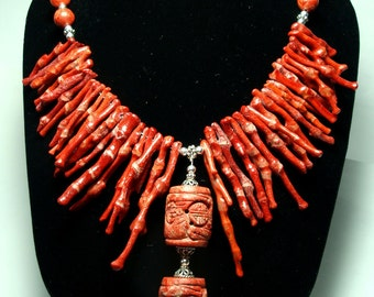 Red Coral Necklace Tahitian Princess Natural Red Branch Coral Bib Necklace with Sterling