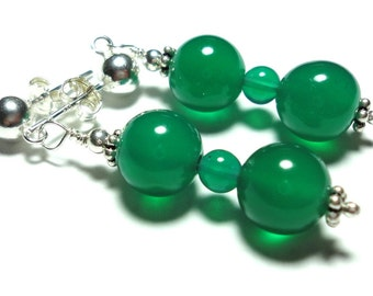 Green Onyx Earrings w Sterling Posts