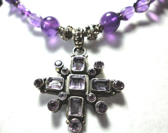 Amethyst Necklace Amethyst Starburst Pendant and Amethyst Beads in Sterling