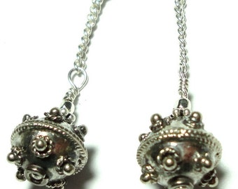 Sterling Silver Earrings with Sterling Bali Beads on Chains