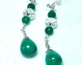 Emerald Green Onyx Earrings Green Onyx Teardrops Earrings with Crystal and Sterling Green Onyx Long Dangle Earrings