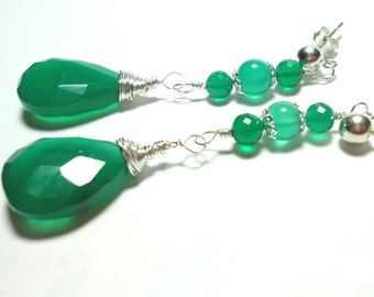 Emerald Green Onyx Faceted Teardrop Earrings in Sterling SIlver