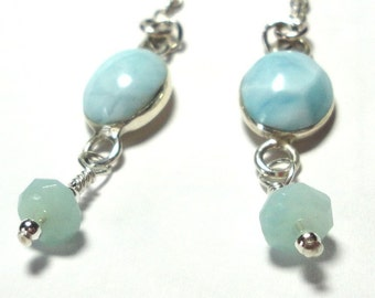 Larimar Earrings with Sterling and Optional Chain Dangle