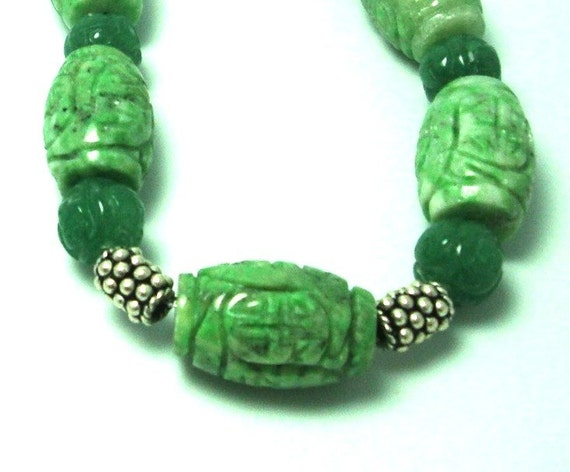 Carved African Jade, Aventurine, and Sterling Necklace