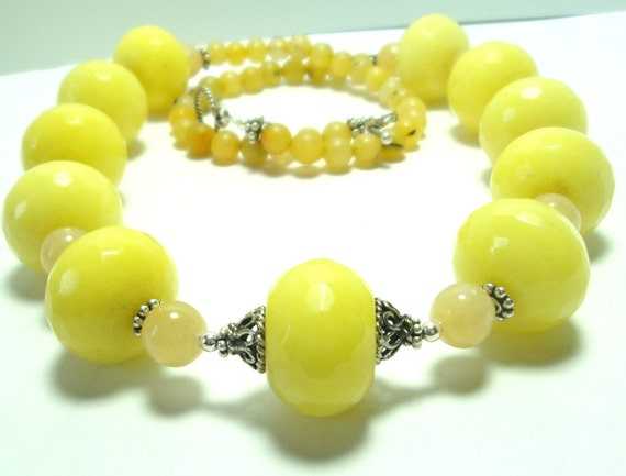 Yellow Lemon Drops with Honey Faceted Jade Necklace with Sterling