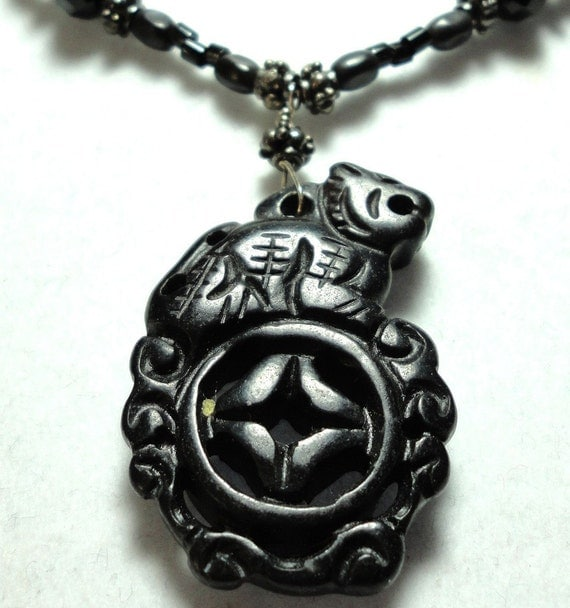 Reserved for Christine Beautiful Tiger Hand Carved Black Jade Necklace with Black Onyx, and Sterling