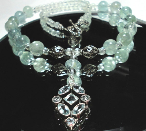 Genuine Almost Clear Aquamarine Pendant and Beads in Necklace with Sterling