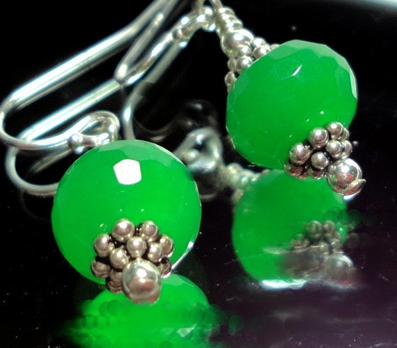Faceted Emerald Green Onyx Earrings in Sterling SIlver
