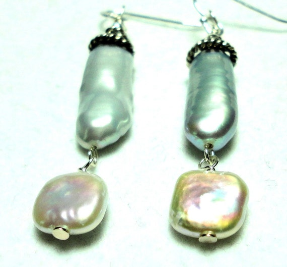 Reserved for Annette Pearl Earrings Silvery with  Biwa and Square Baroque Pearls and Sterling
