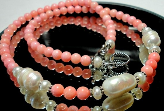 Delicious Creamsicle Coral Beads and Large Baroque Pearl Necklace with Sterling