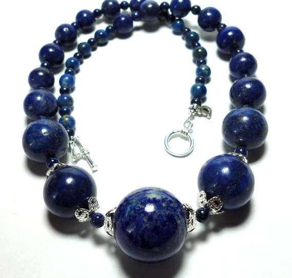 Reserved for Monica Glorious Graduated Round AA Quality Lapis Necklace with Solid Sterling Silver