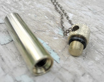 Secret brass capsule container pendant Necklace - vial, canister, keepsake perfume