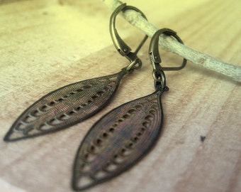 like a filigree leaf antique brass gold with patina earrings