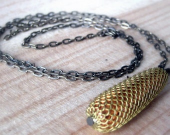 Vintage brass mesh wrapping on copper bead necklace